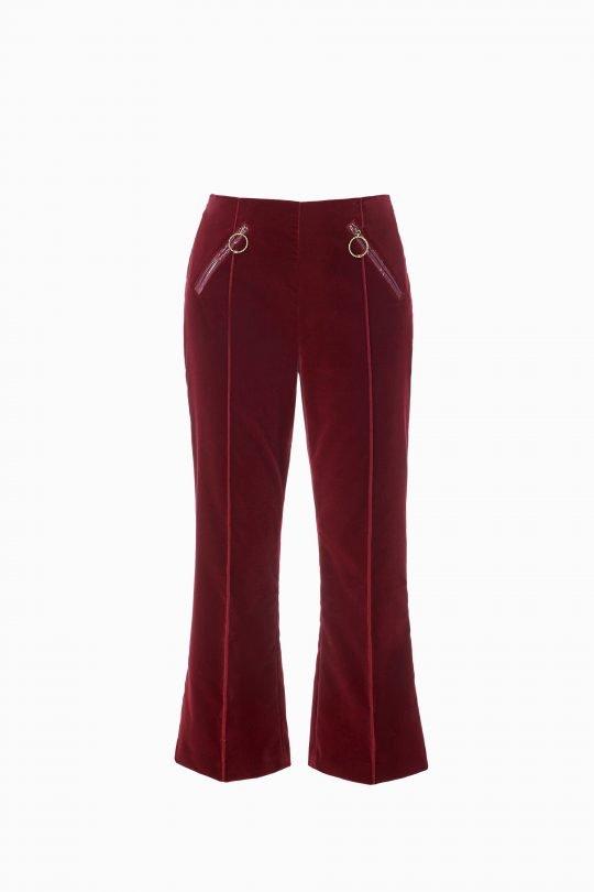 Elizabetta Frenchi, Red, Velvet, Flared pants
