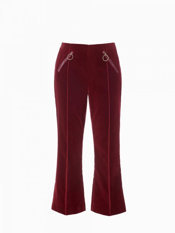 Elizabetta Frenchi, Red, Velvet, Flared pants