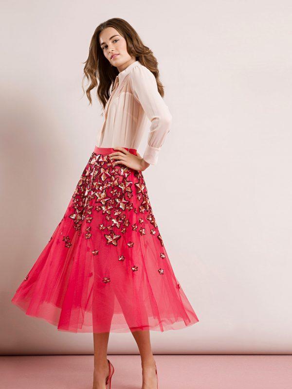 Tulle skirt, italian design, aria boutique, hot pink