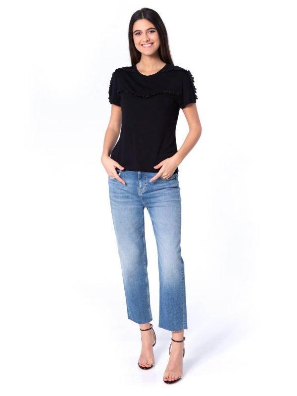 black t-shirt, ruffle design, aria boutique, t-shirt style
