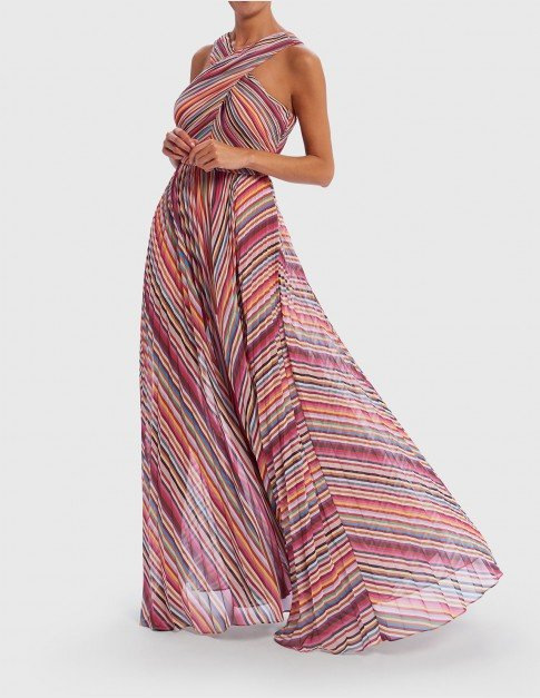 Forever Unique Multi Striped Halter Neck Maxi Dress