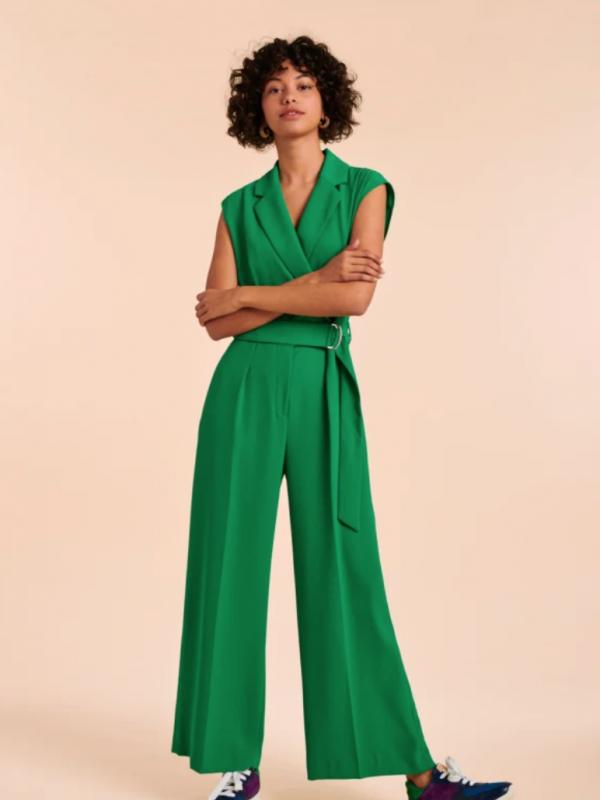 Tara Jarmon Green Belted Perinne Jumpsuit