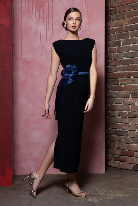 Caroline Kilkenny Navy Monica Dress With Satin Bow