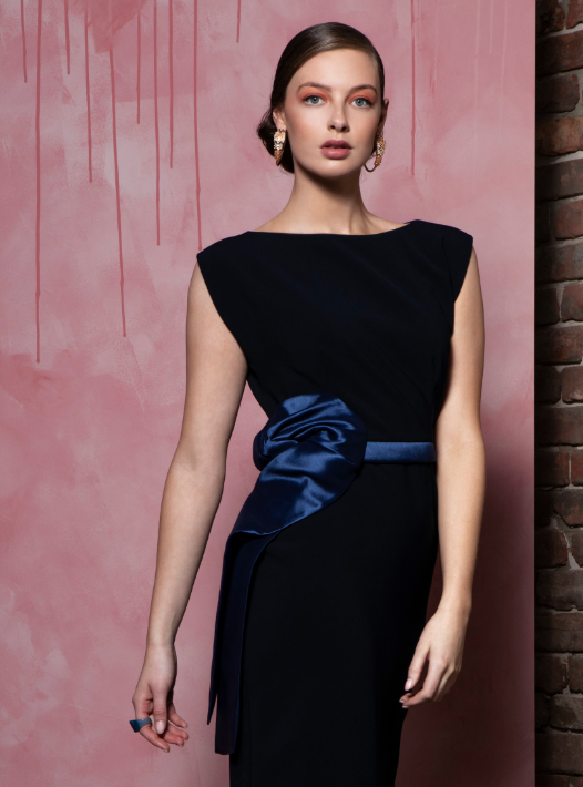 Caroline Kilkenny Navy Monica Dress With Satin Bow