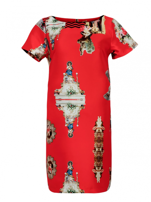 Max Jenny Sisily Print Red Shift Dress