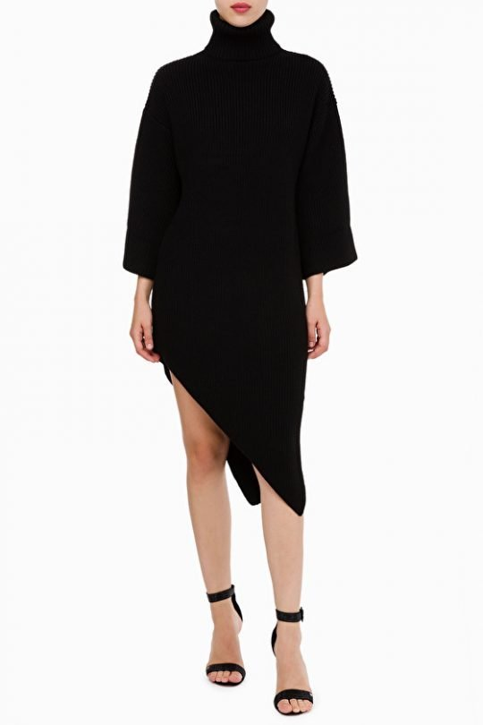 Elisabetta Franchi Asymmetric Knit Dress In Black