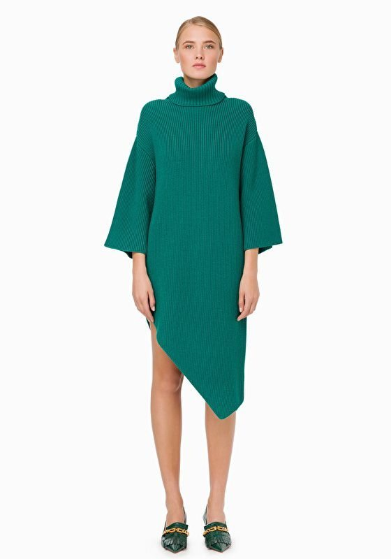 Elisabetta Franchi Asymmetric Knit Dress In Emerald