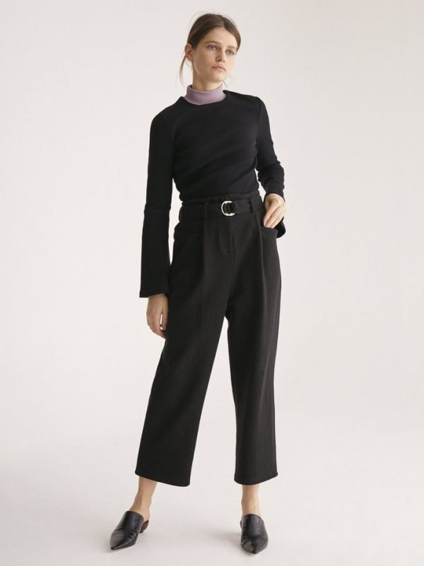Paisie Wide Leg Black Trouser With Belt