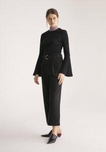Paisie Wide Leg Black Trouser With Belt