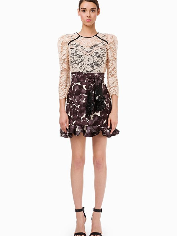 Elisabetta Franchi Grey Floral Skirt