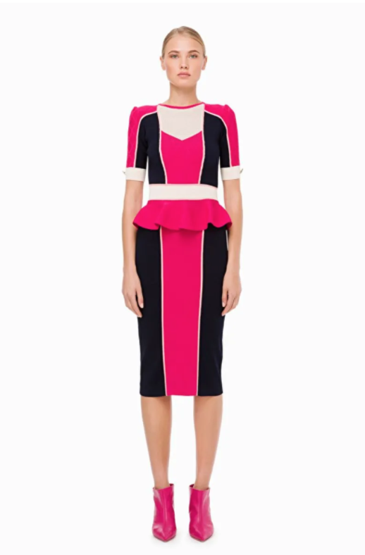 Elisabetta Franchi Pink and Navy Dress