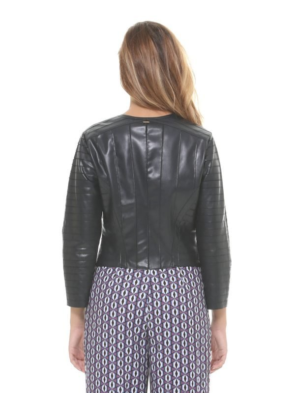 Silvian Heach Faux Navy Leather Jacket