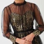 Forever Unique Black & Gold Mesh Midi Dress