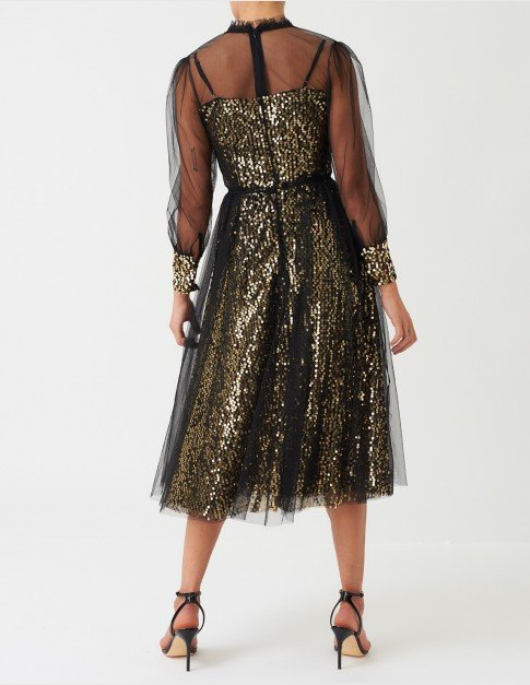 Forever Unique Black & Gold Mesh Midi Dress