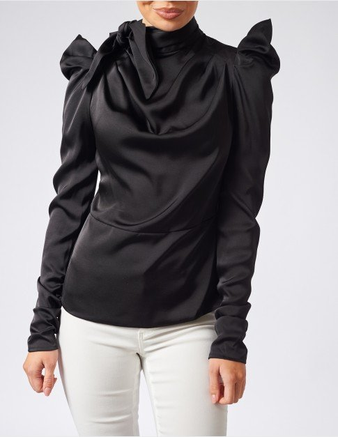Forever Unique Black Ruched Satin Blouse