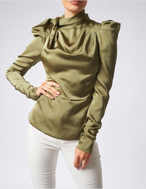Forever Unique Olive Ruched Satin Blouse