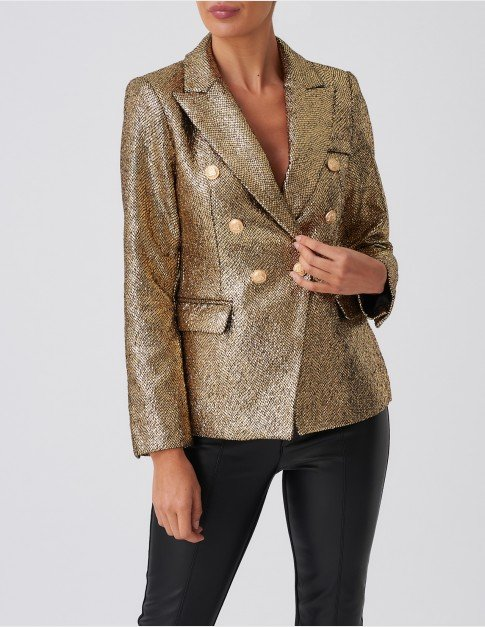 Forever Unique Gold Glitter Blazer