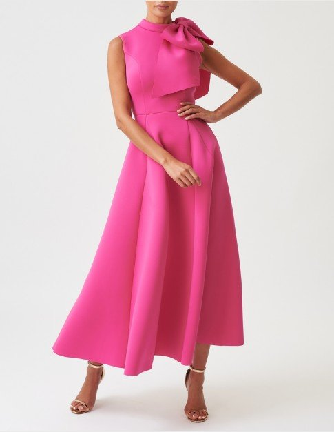 Forever Unique Fuchsia Maxi Dress With Bow