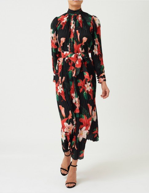 Forever Unique Black Floral Print Maxi Dress