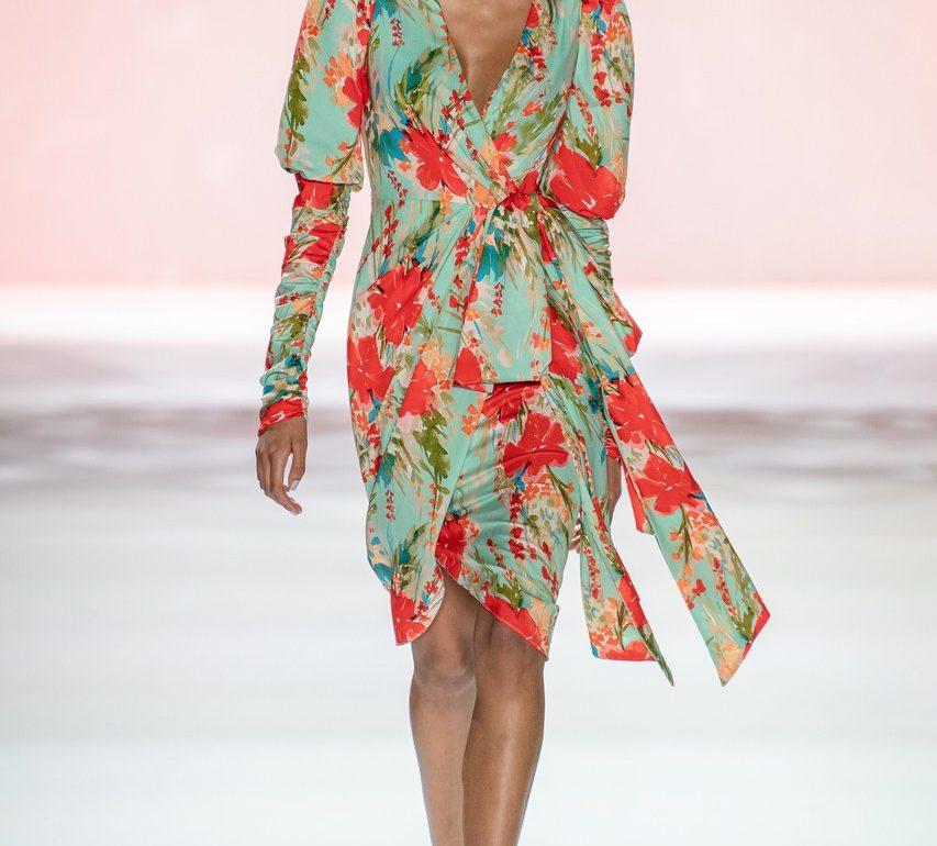 Badgley Mischka Printed Bow Cocktail Dress