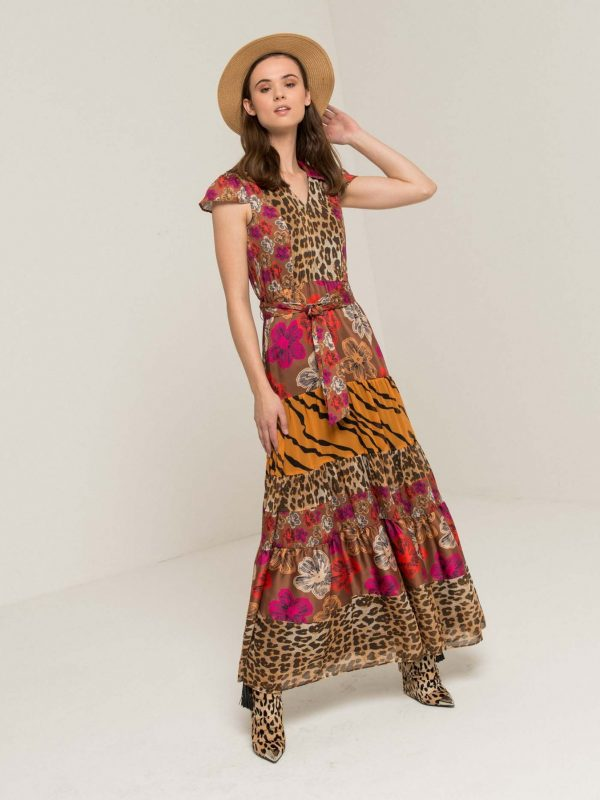 Silvian Heach Mixed Pattern Maxi Dress
