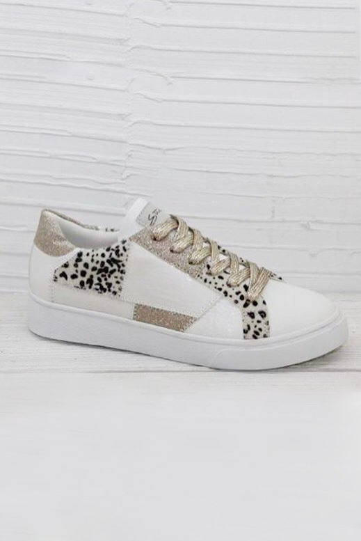 Paisie Animal Print Gold Trainer