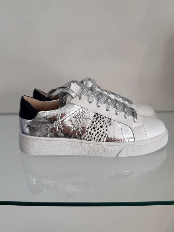 silver animal print trainer