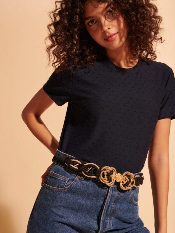 Tara Jarmon Lee Black Chain Belt