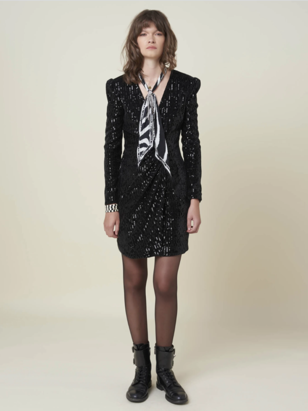 Silvian Heach Chained Black Sequin Dress