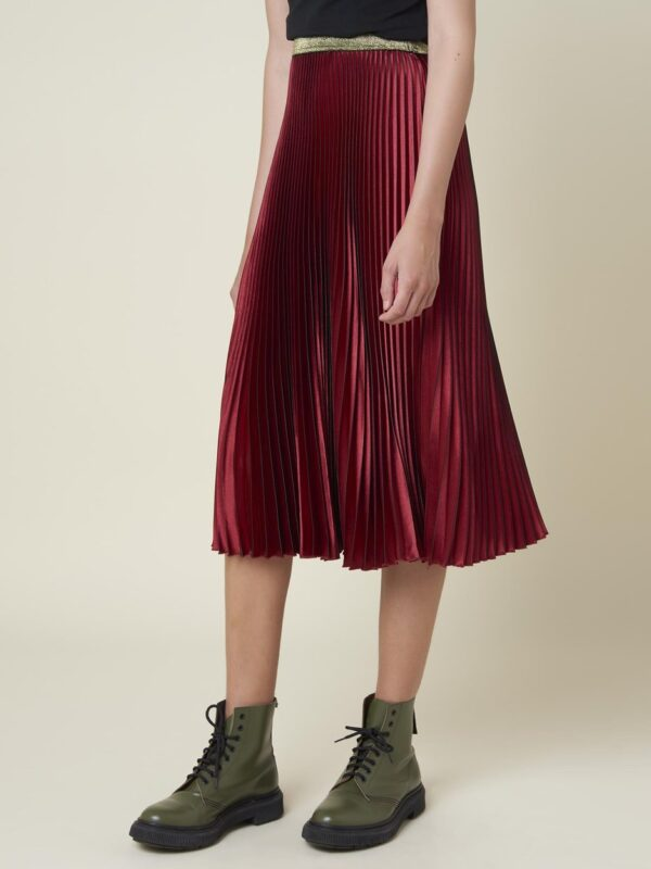 Silvian Heach Pleated Red Wine Skirt