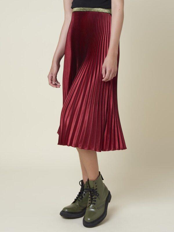 Silvian Heach Pleated Red Wine Skirt