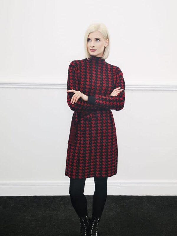 Silvian Heach Knit Houndstooth Dress