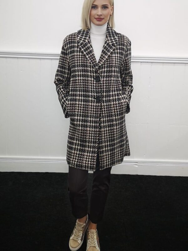 i Blues Black & White Check Coat