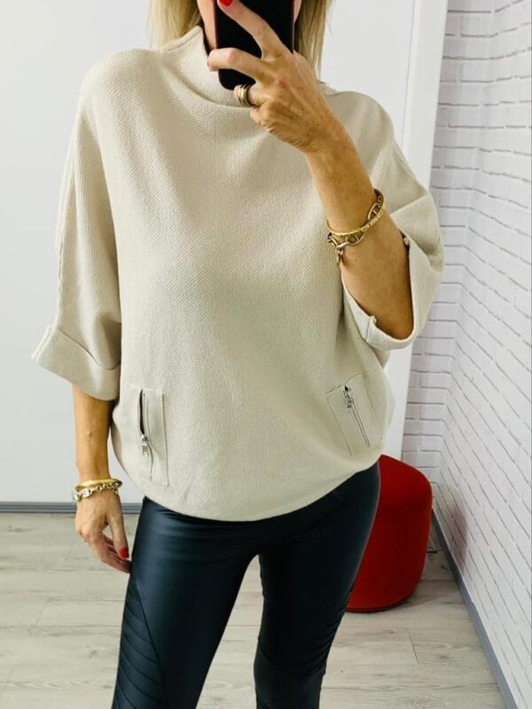 Cream High Neck Relaxed Top