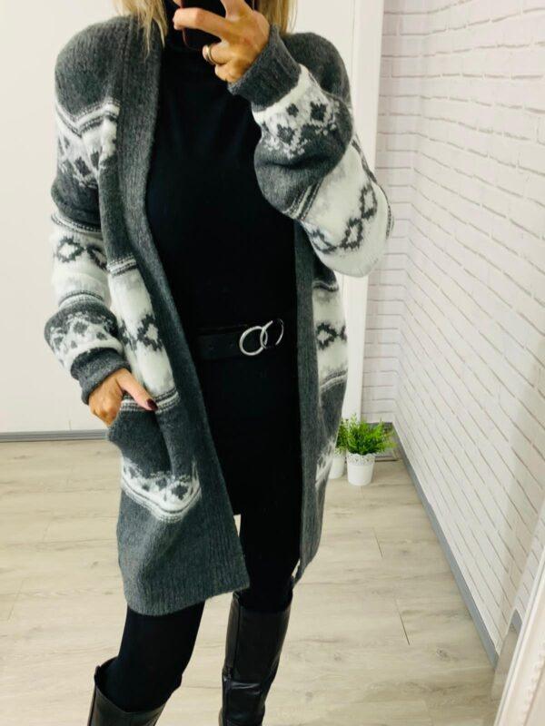 Grey & White Long Length Cardigan