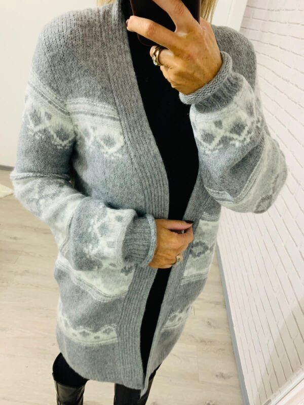 Light Grey & White Long Length Cardigan