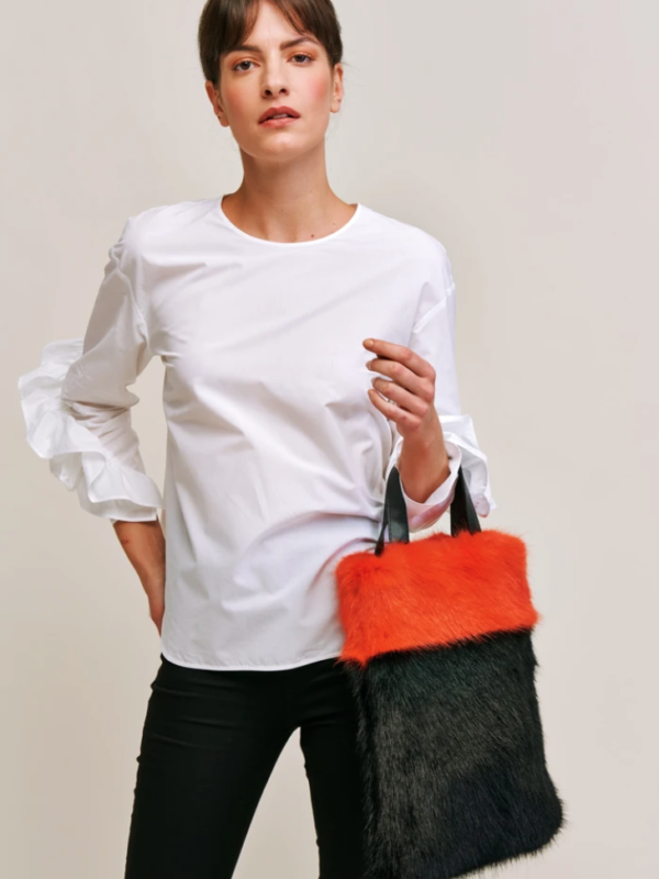 Helen Moore Two Tone Bag In Blaze & Jet Black
