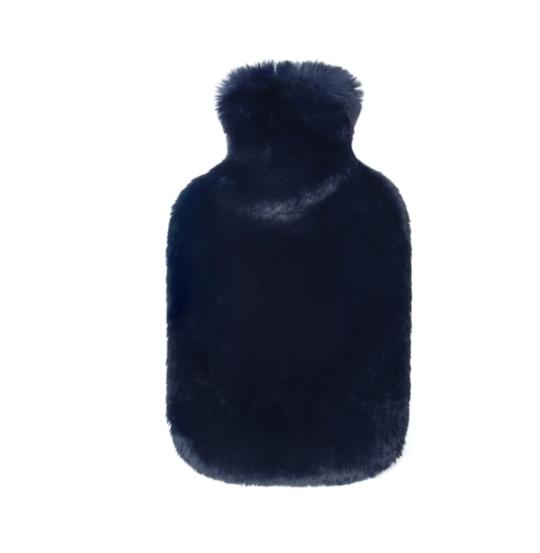 Helen Moore Navy Faux Fur Hot Water Bottle