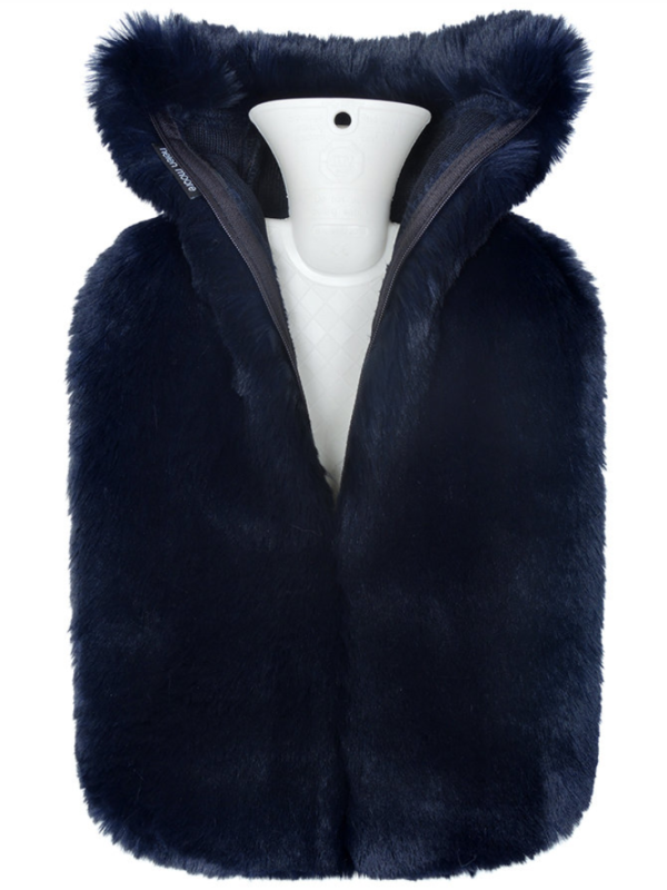 Helen Moore Navy Faux Fur Hot Water Bottle