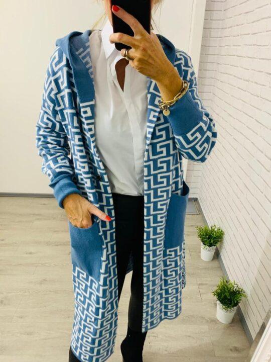 Long Knit Blue Cardigan