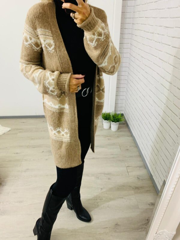 Cream & White Long Length Cardigan