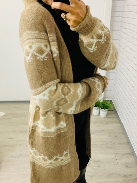 Cream & White Long Length Cardigan