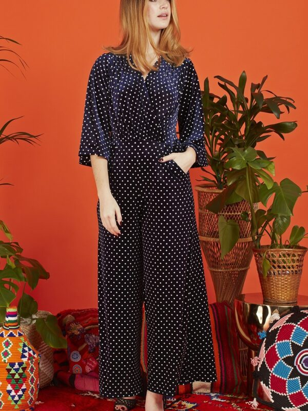 Onjenu Laurie Navy Dot Jumpsuit