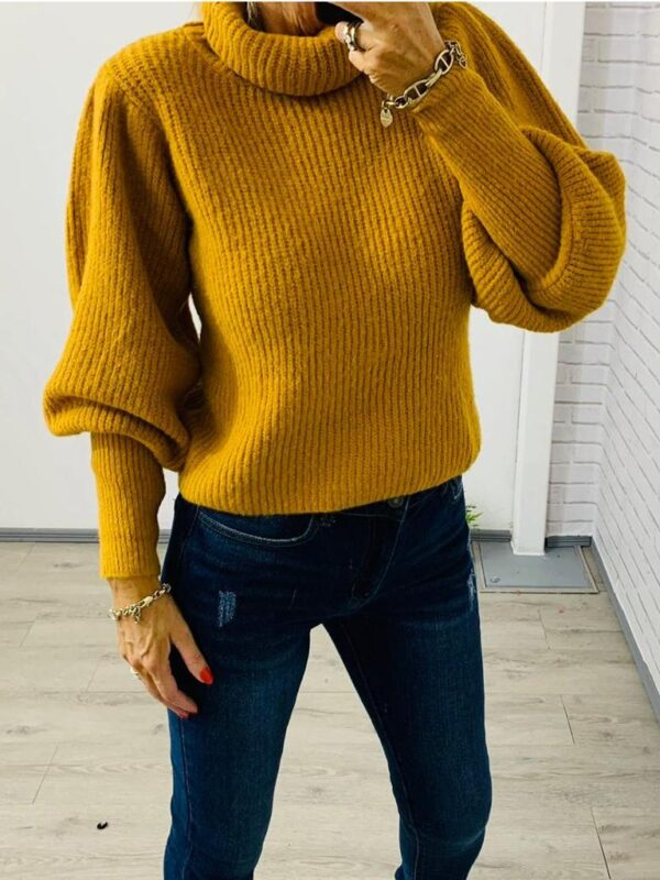 Kyla Mustard Roll Neck Knit Jumper