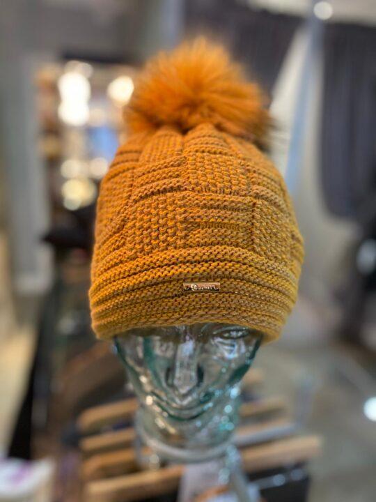 Bobble Hat In Mustard & Fleece Lined