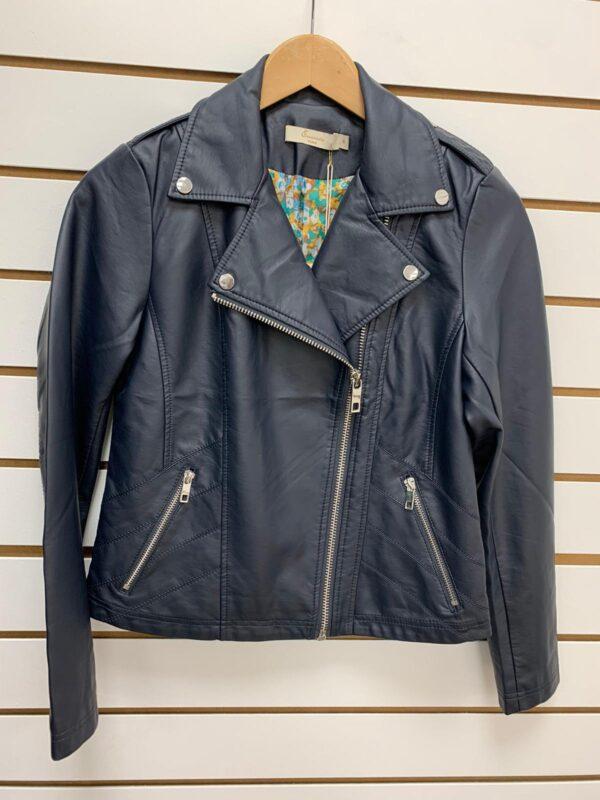 Kyla Navy Faux Leather Jacket
