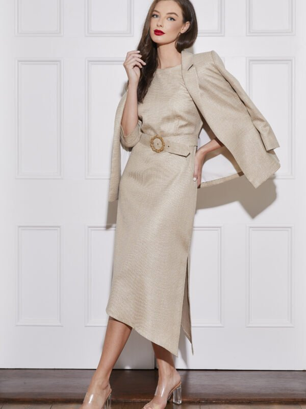 Caroline Kilkenny Gold Check Polly Dress