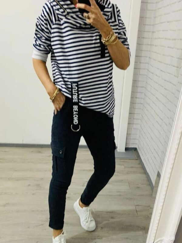 Kyla Navy & White Striped Top