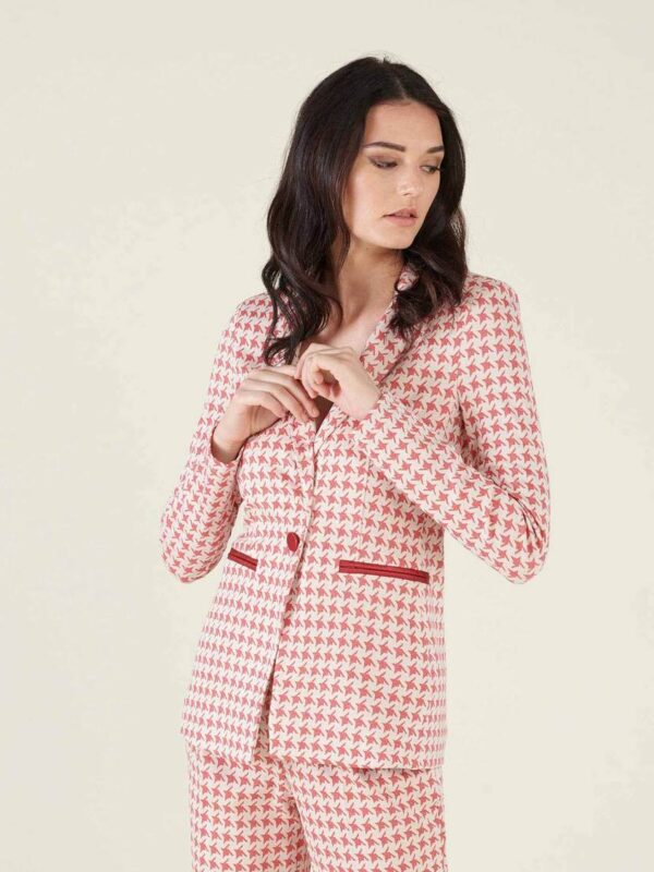 Silvian Heach Red & White Houndstooth Jacket