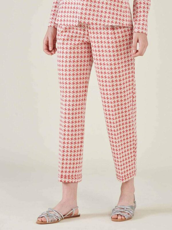 Silvian Heach Red & White Houndstooth Trouser